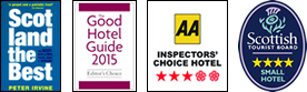 Scotland the best logo, Good Hotel Guide logo, AA 3 star award logo, STB small hotel 4 star award